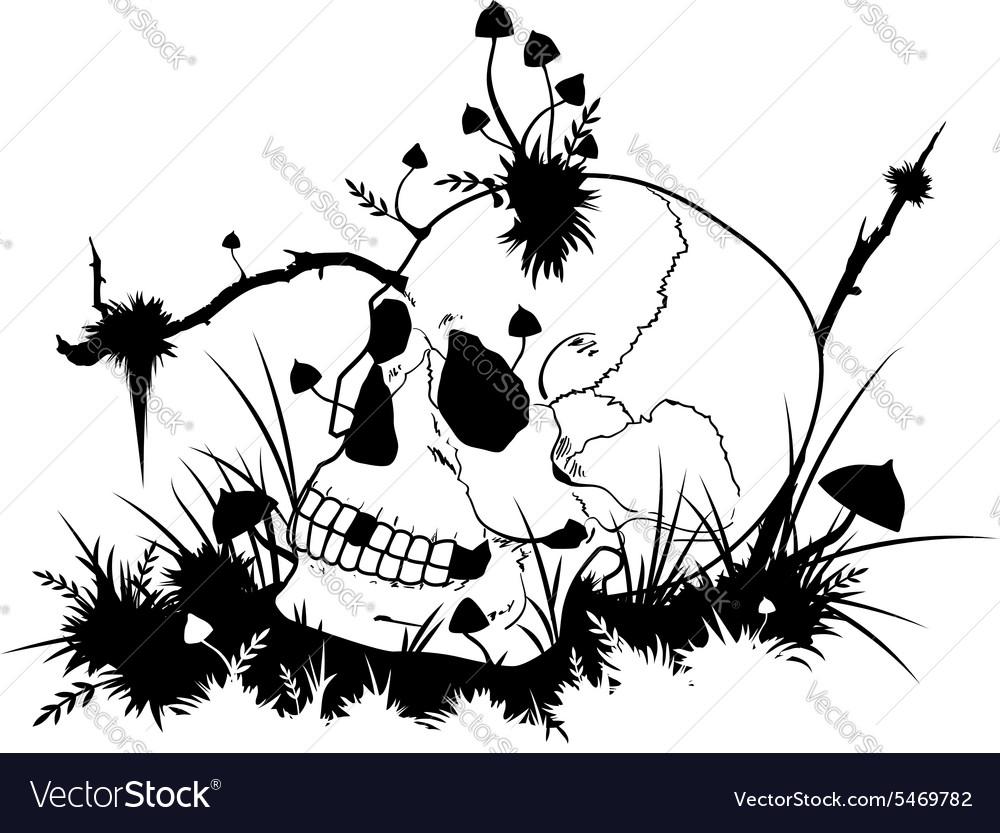 Skull and mushrooms