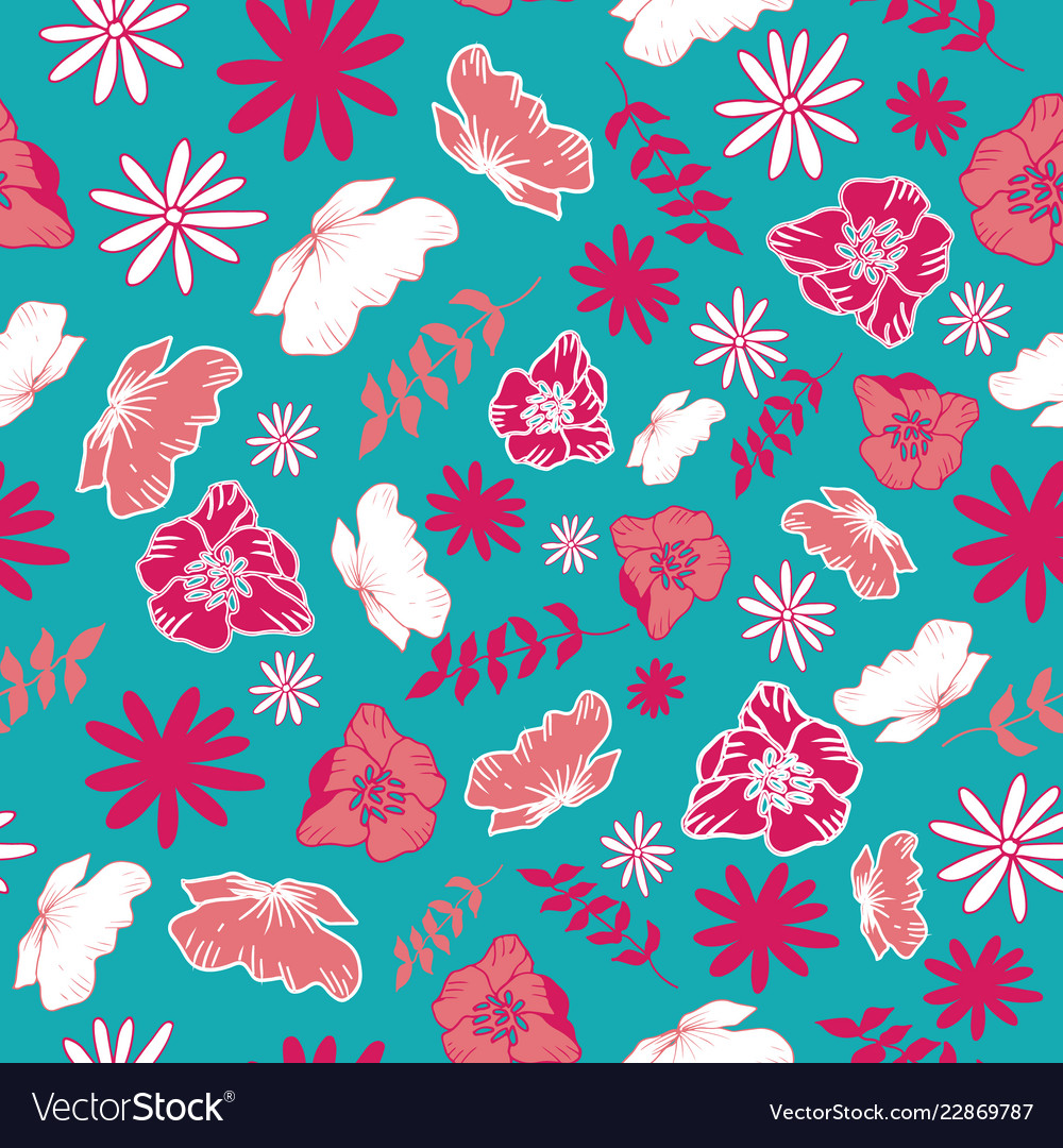 Blue tossed floral and leaves mix seamless pattern
