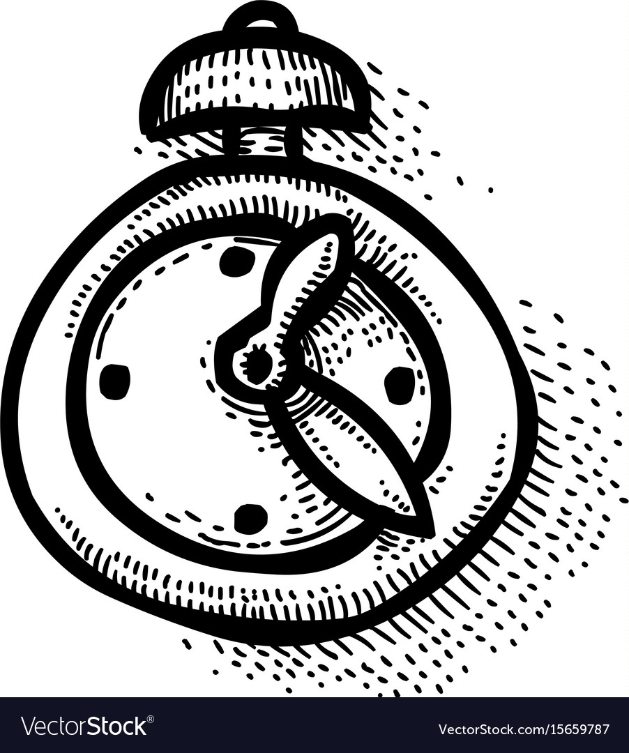 Cartoon image of clock icon time symbol