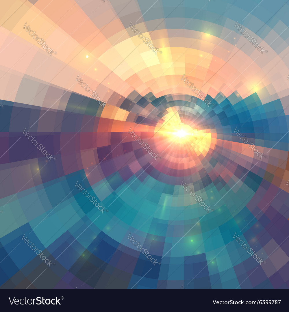 Colorful concentric shining mosaic abstract