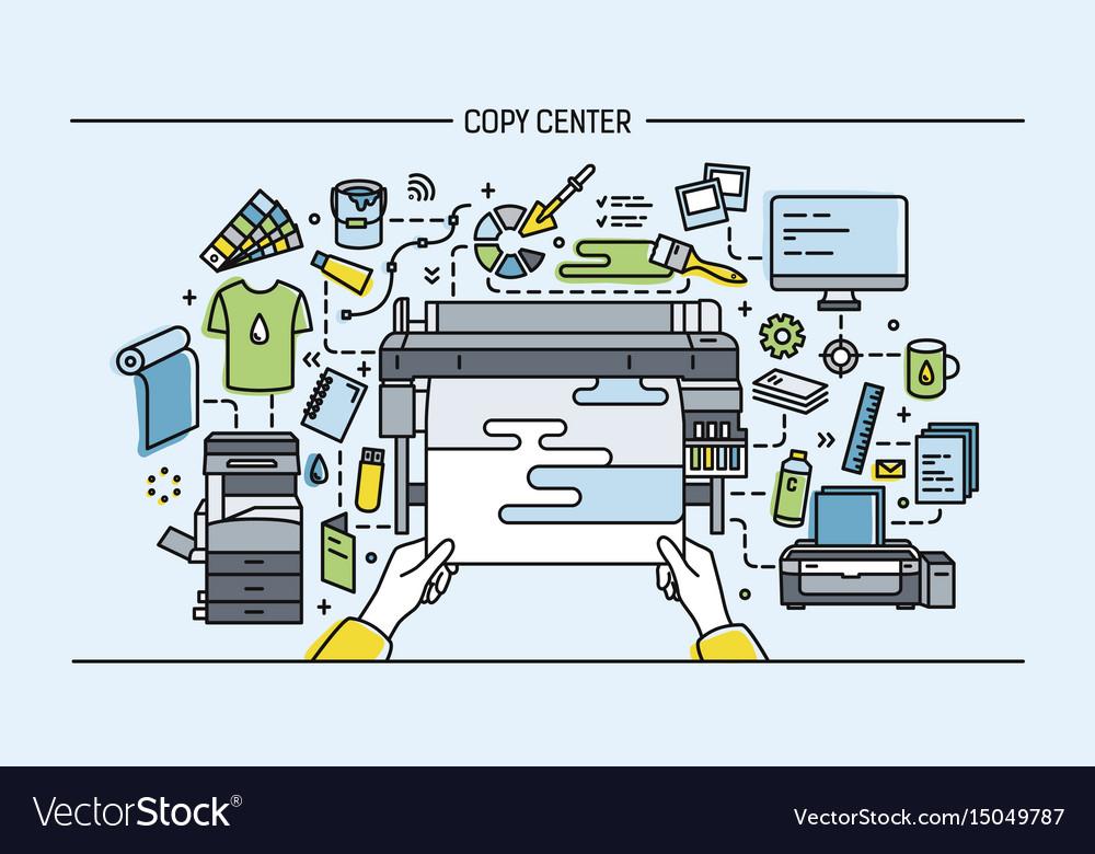 Concept of copy center print shop publishing