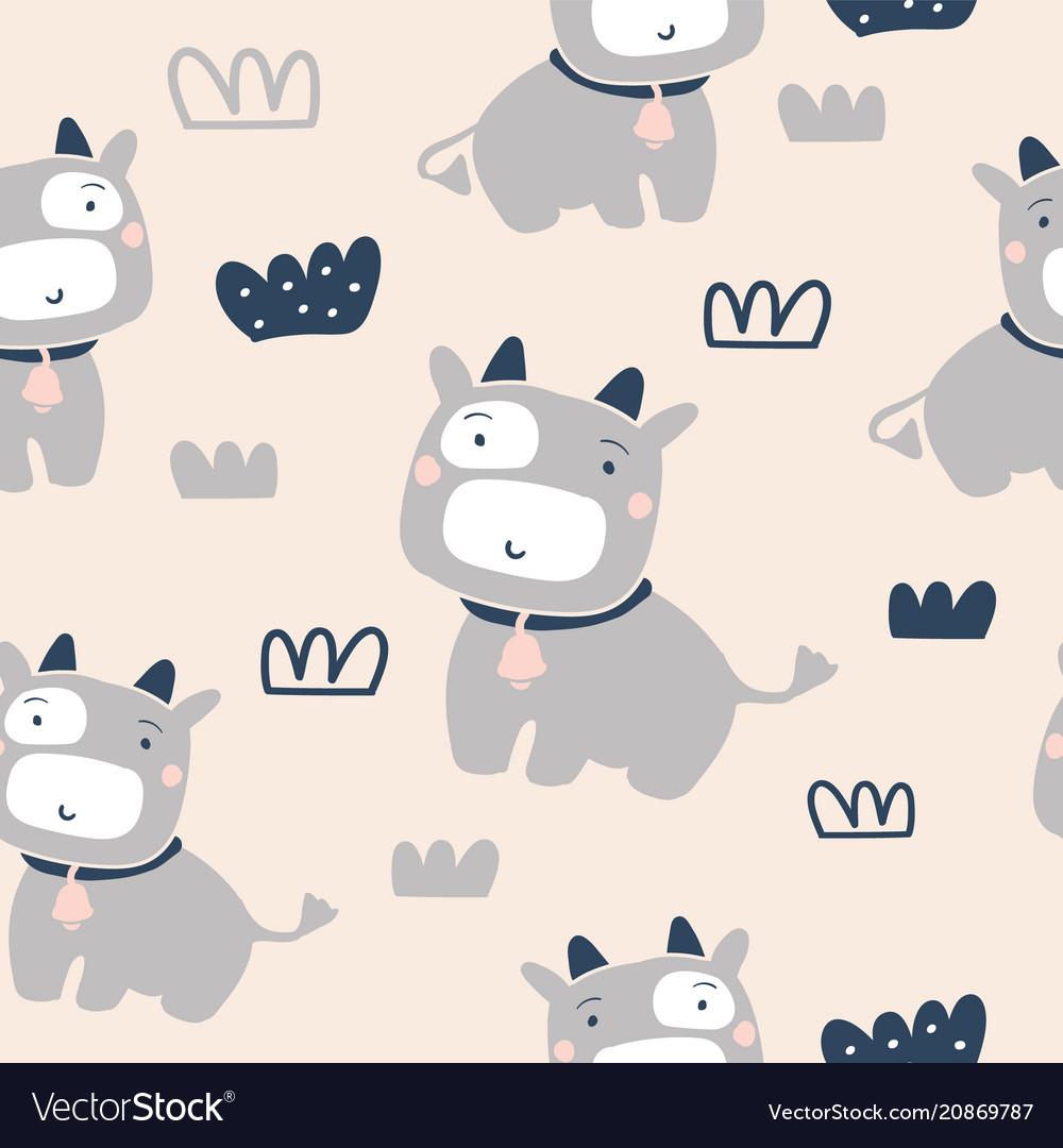Cute cows seamless pattern