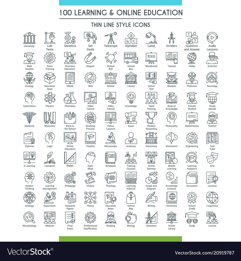 Education line icons big set vector image