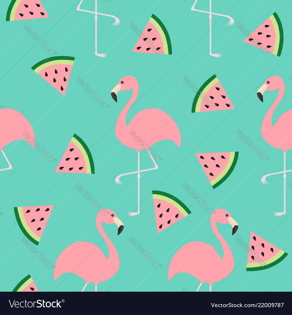 Flamingo set seamless pattern exotic tropical