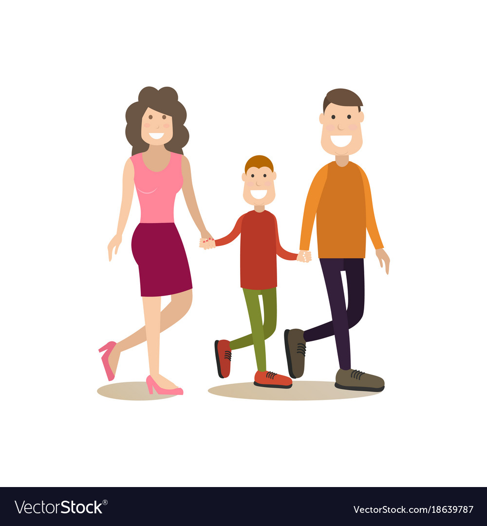 Happy family in flat style
