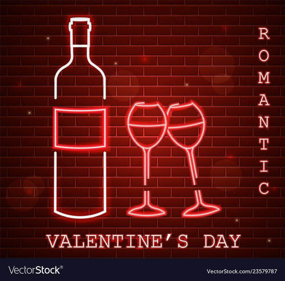 Neon valentine day card with wine bottle and