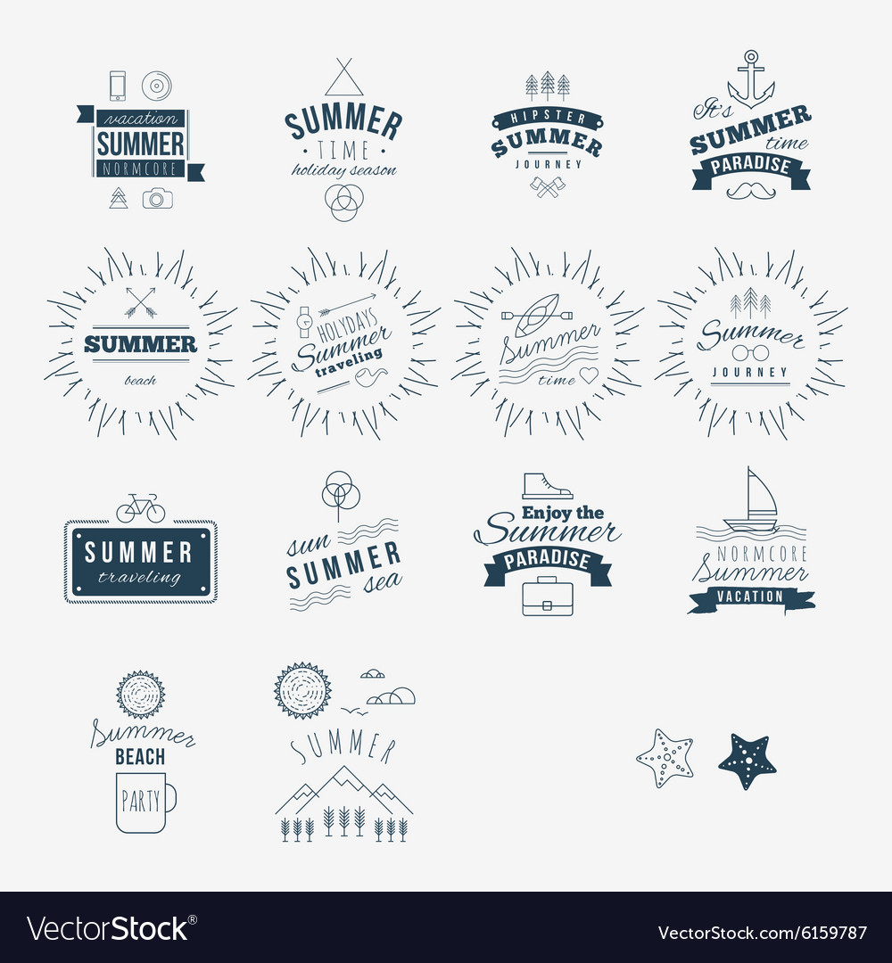 Retro hand drawn elements for Summer calligraphic
