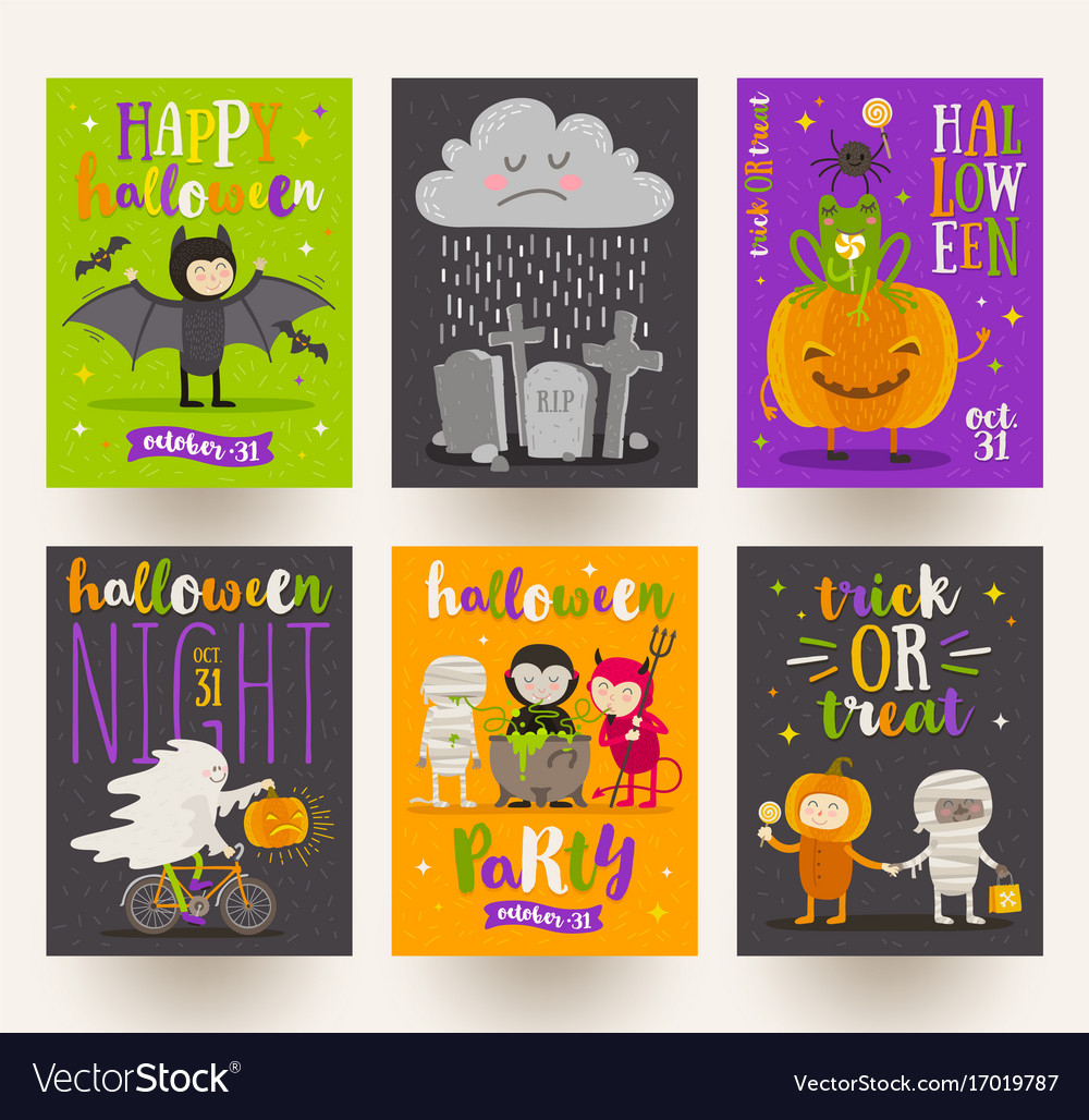 Set of halloween posters or greeting card