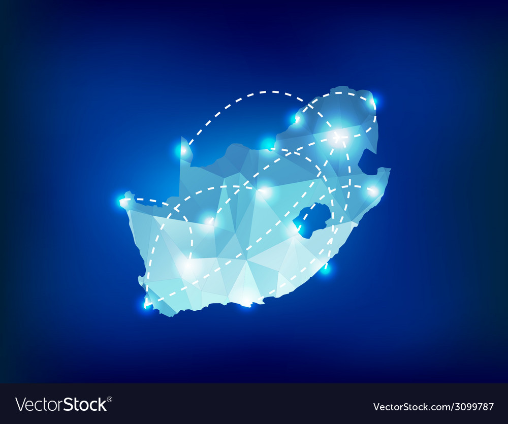 South Africa country map polygonal with spot light