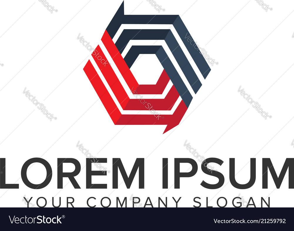 Abstract hexagonal logo design concept template