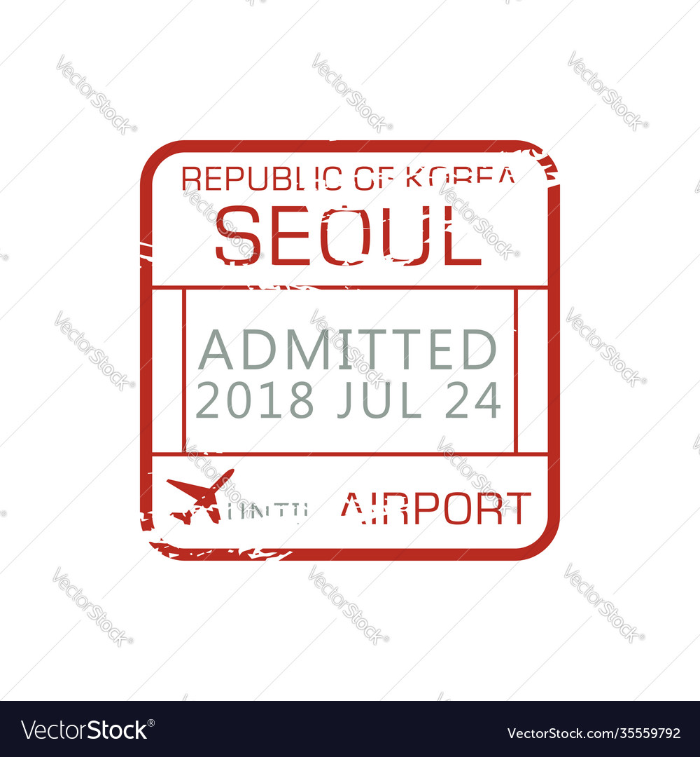 Airport border control stamp admitted seoul sign