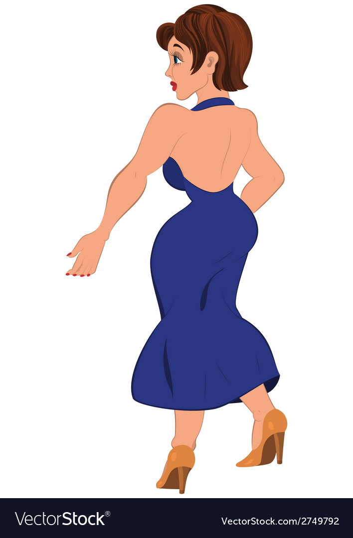 Cartoon woman in open back blue dress back view vector image