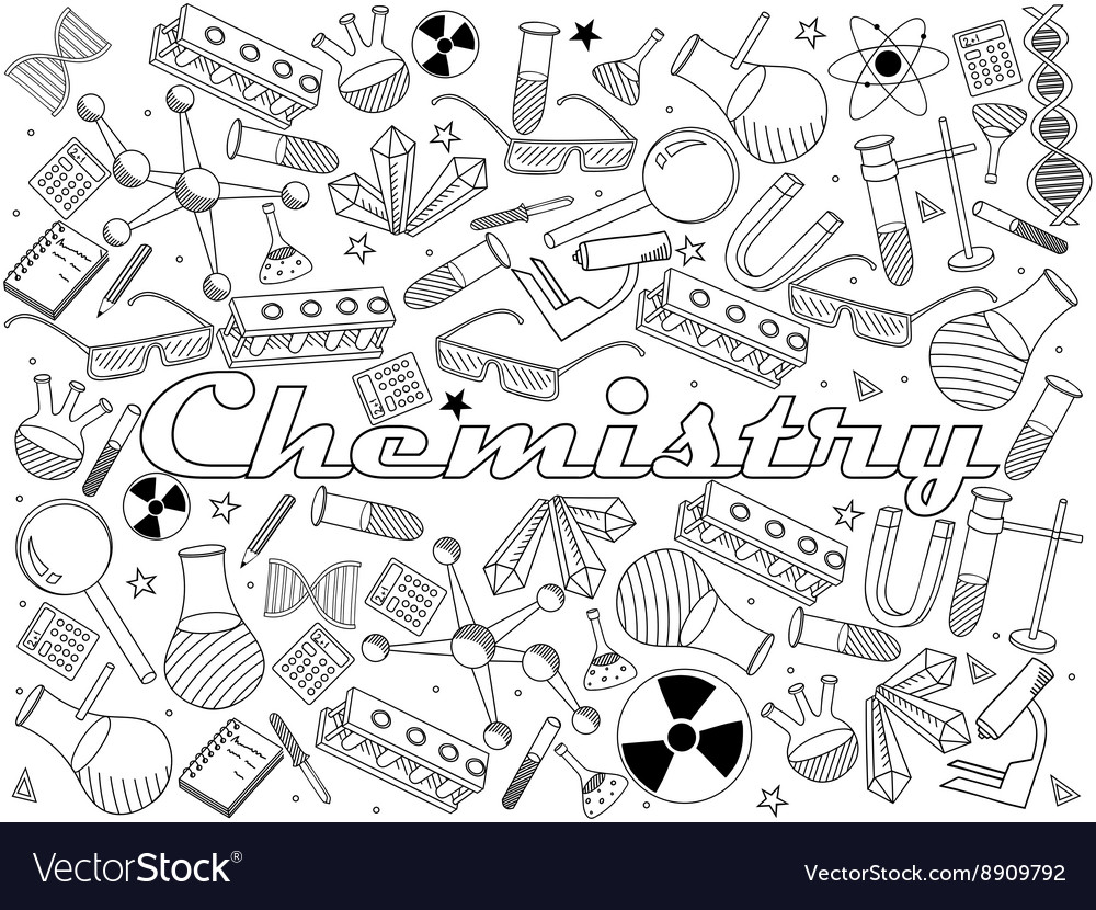Chemistry coloring book Royalty Free Vector Image