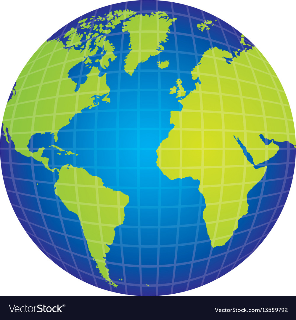 Map Of The World Globe View.Colorful Silhouette With World Map View Front Side