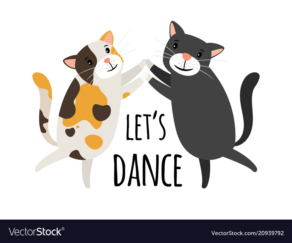 dancing cats foxtrot or tango cat dancers vector image