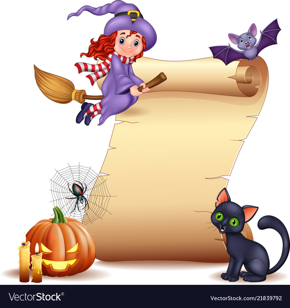 Halloween sign with little witch bat spider web