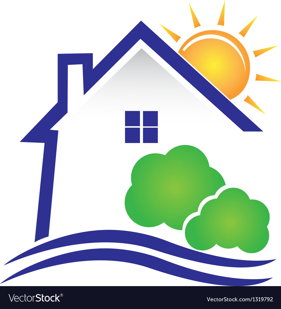 House sun and bushes icon logo