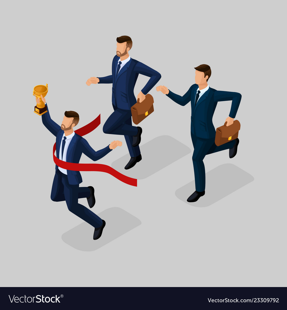 Isometric 3d businessmen with different motion