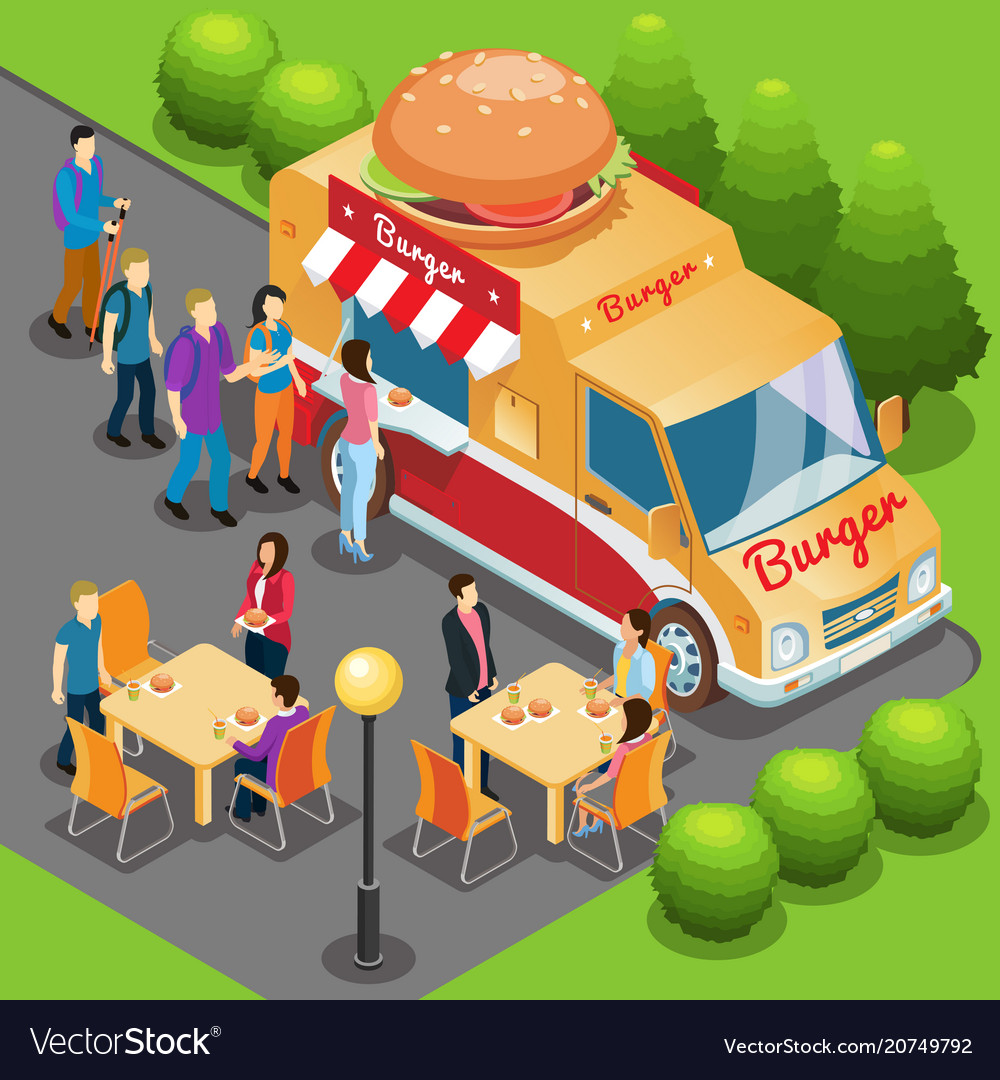 Isometric fast food truck concept