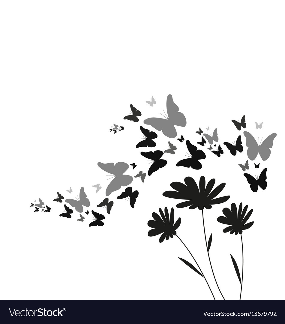 Silhouette of flying butterflies and flowers