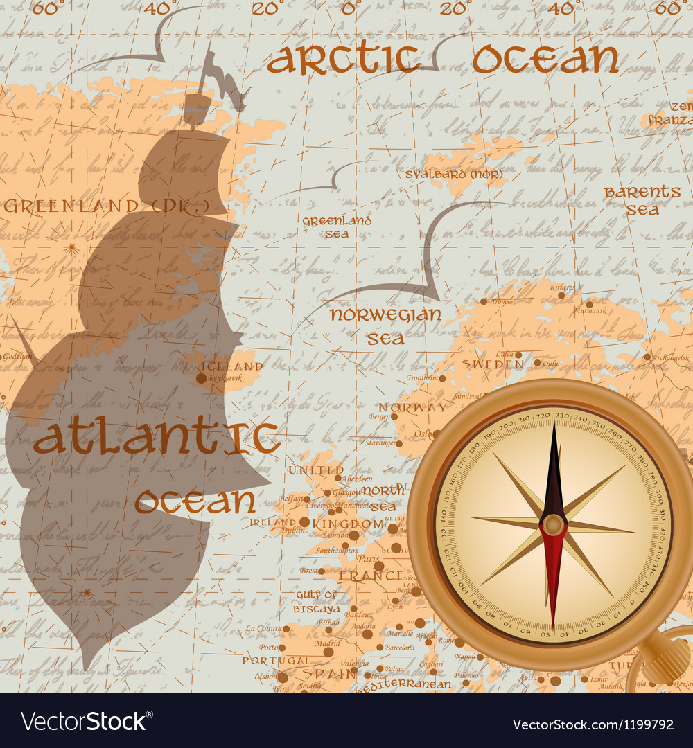 Vintage travel background with antique compass vector image