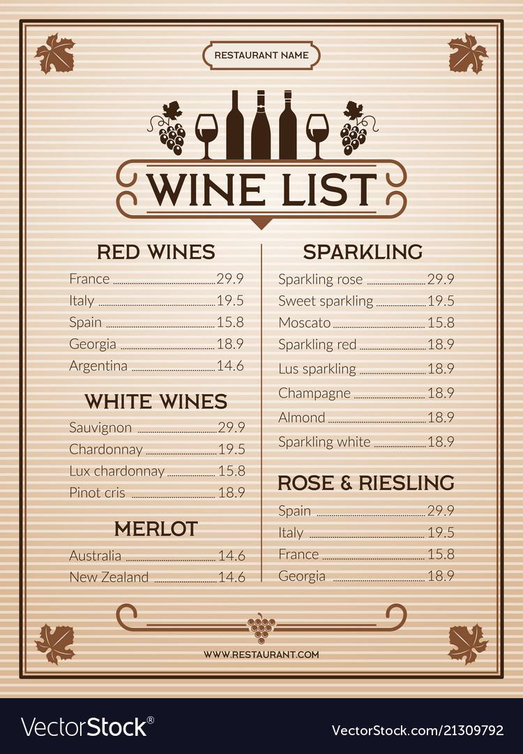 Wine Menu Design Template Of Restaurant Or Bar Vector Image