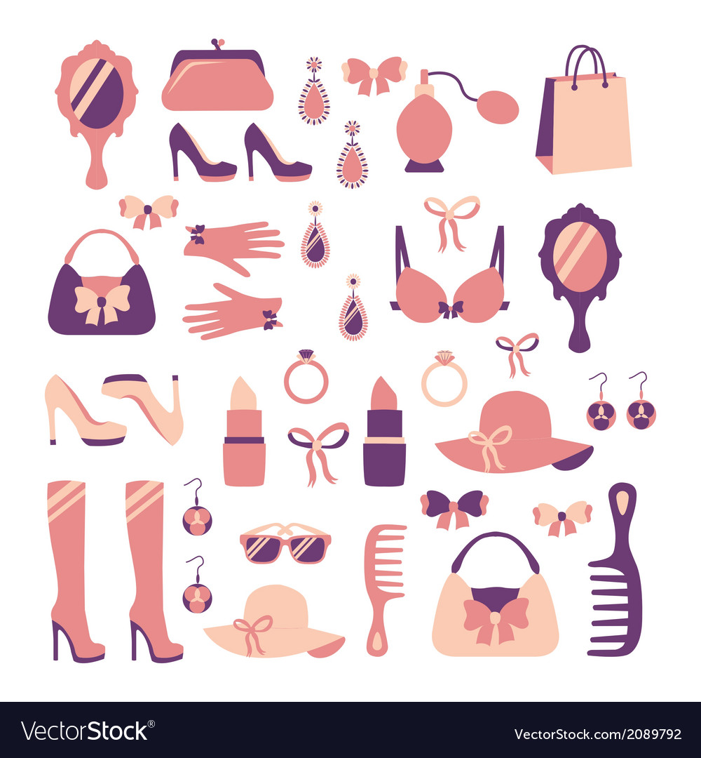 Woman accessories icon set