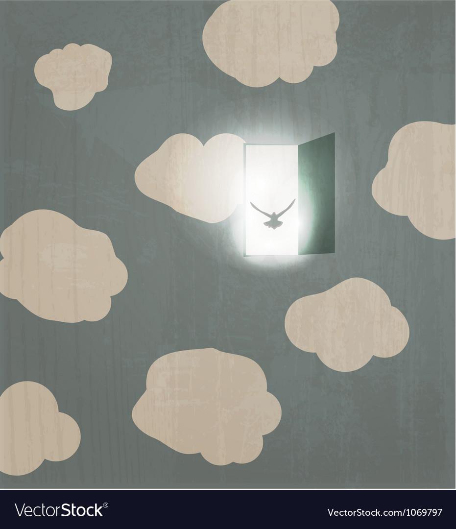 Abstract concept poster Dove flies through the