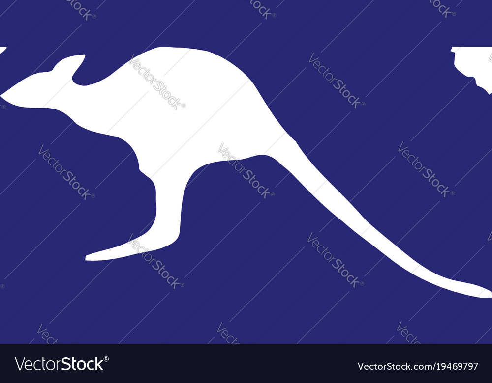 australia map with kangaroo silhouette vector image