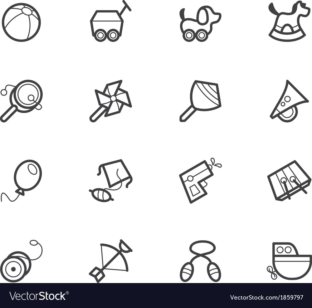Baby toys black icon set on white backgroun vector image