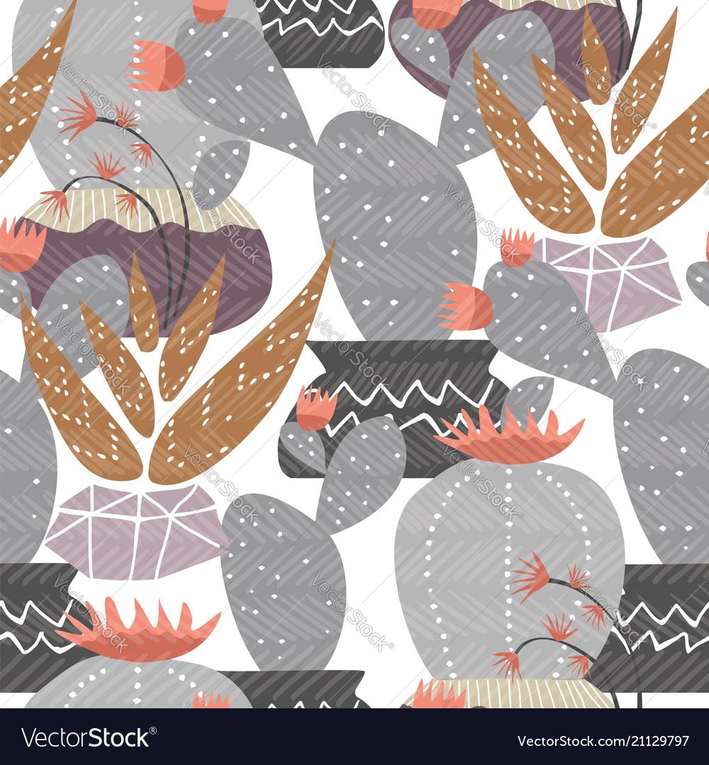 Cactus plant decoration seamless pattern art