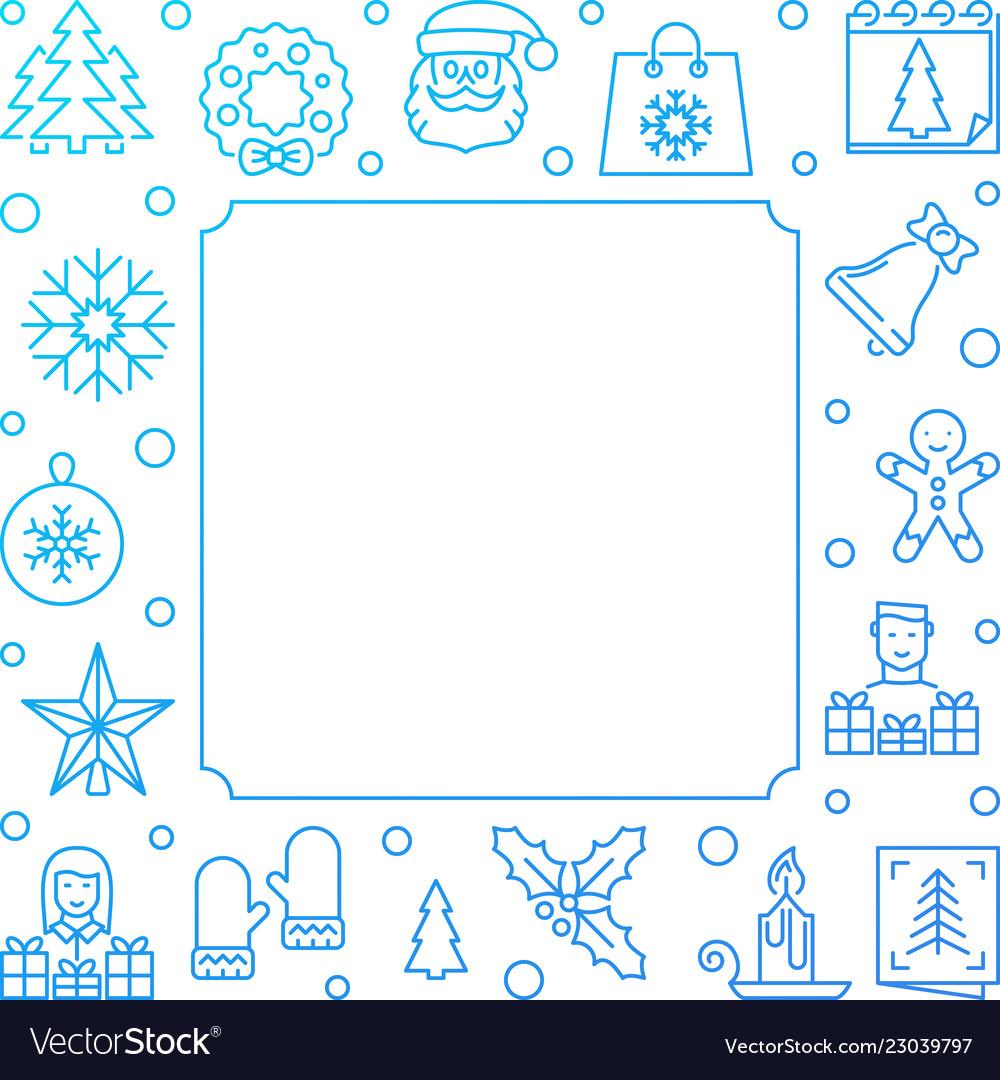 Christmas line blue frame new year