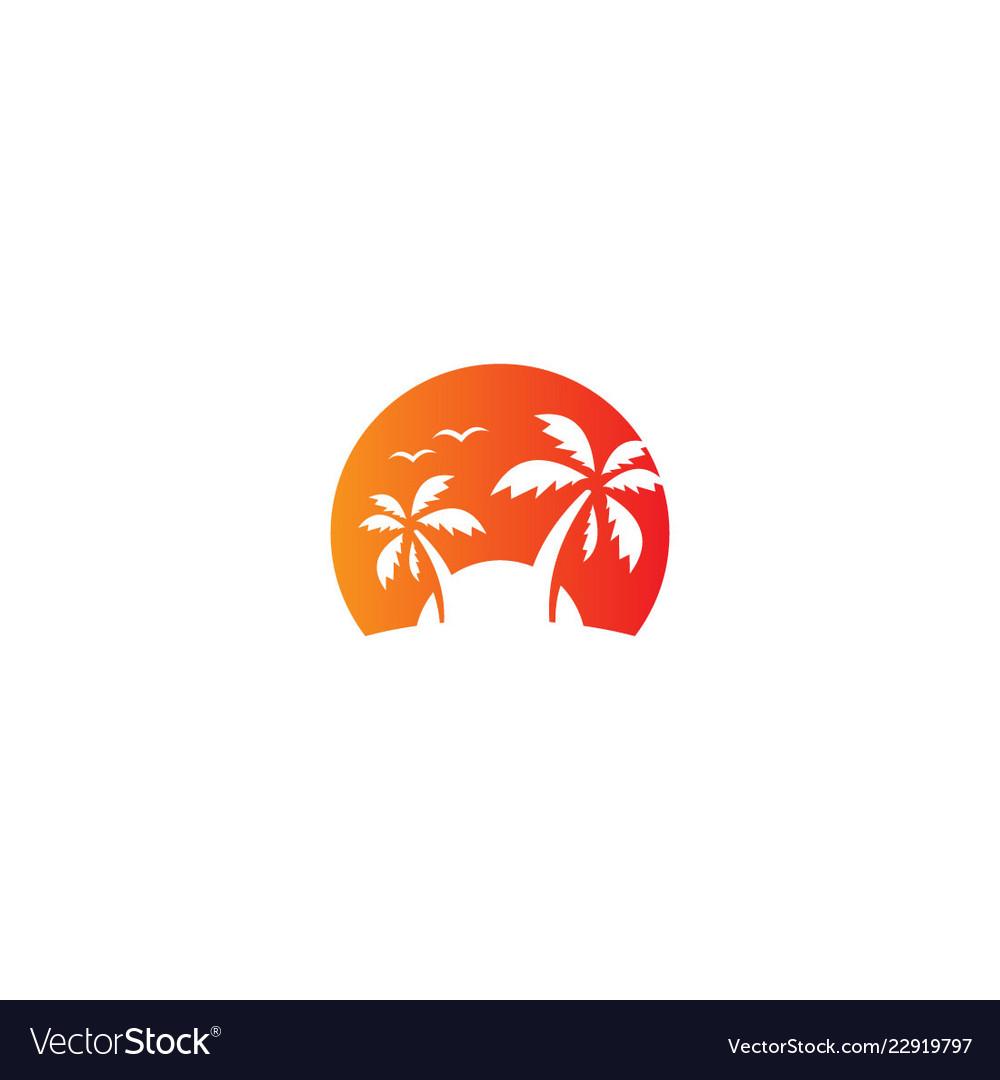Coconout tree beach tropic vacation logo