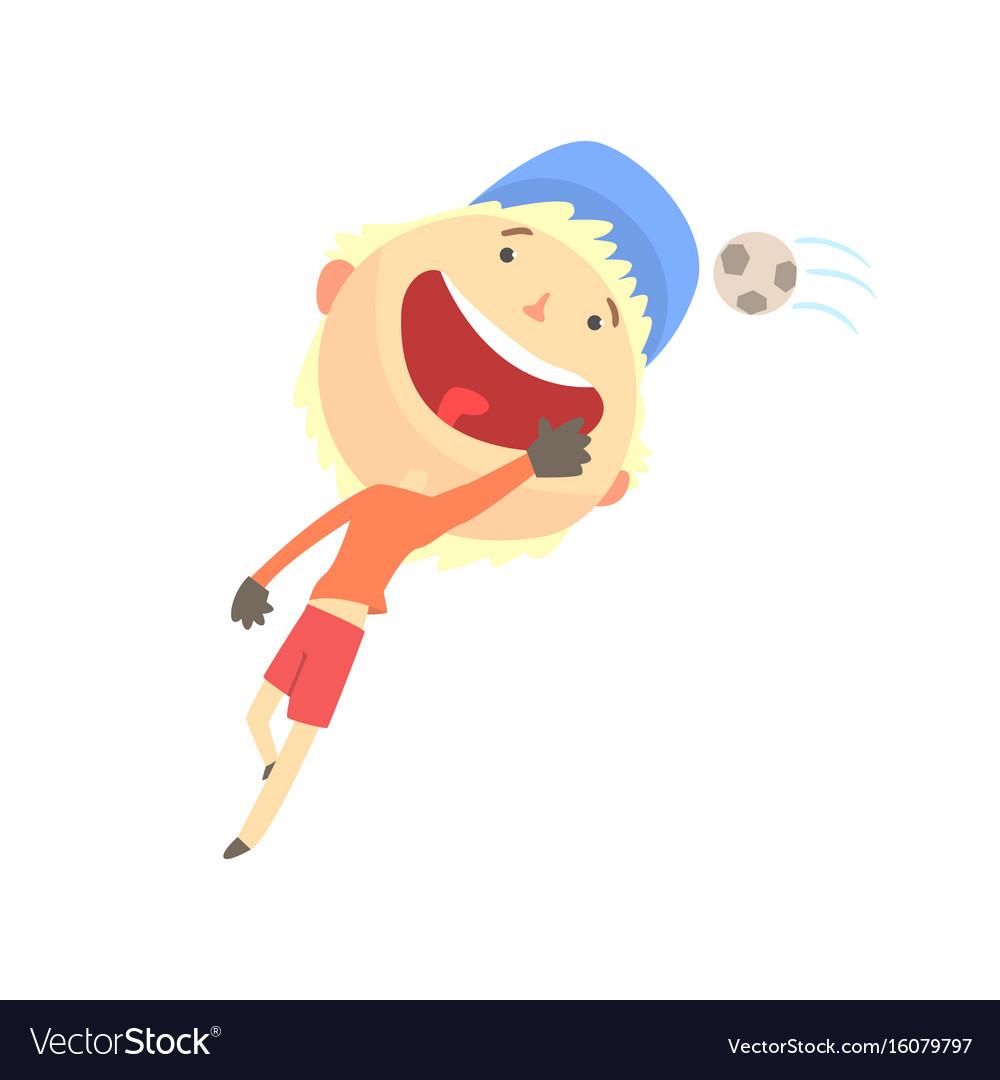 Cool Smiling Cartoon Boy Playing Football Kids Vector Image