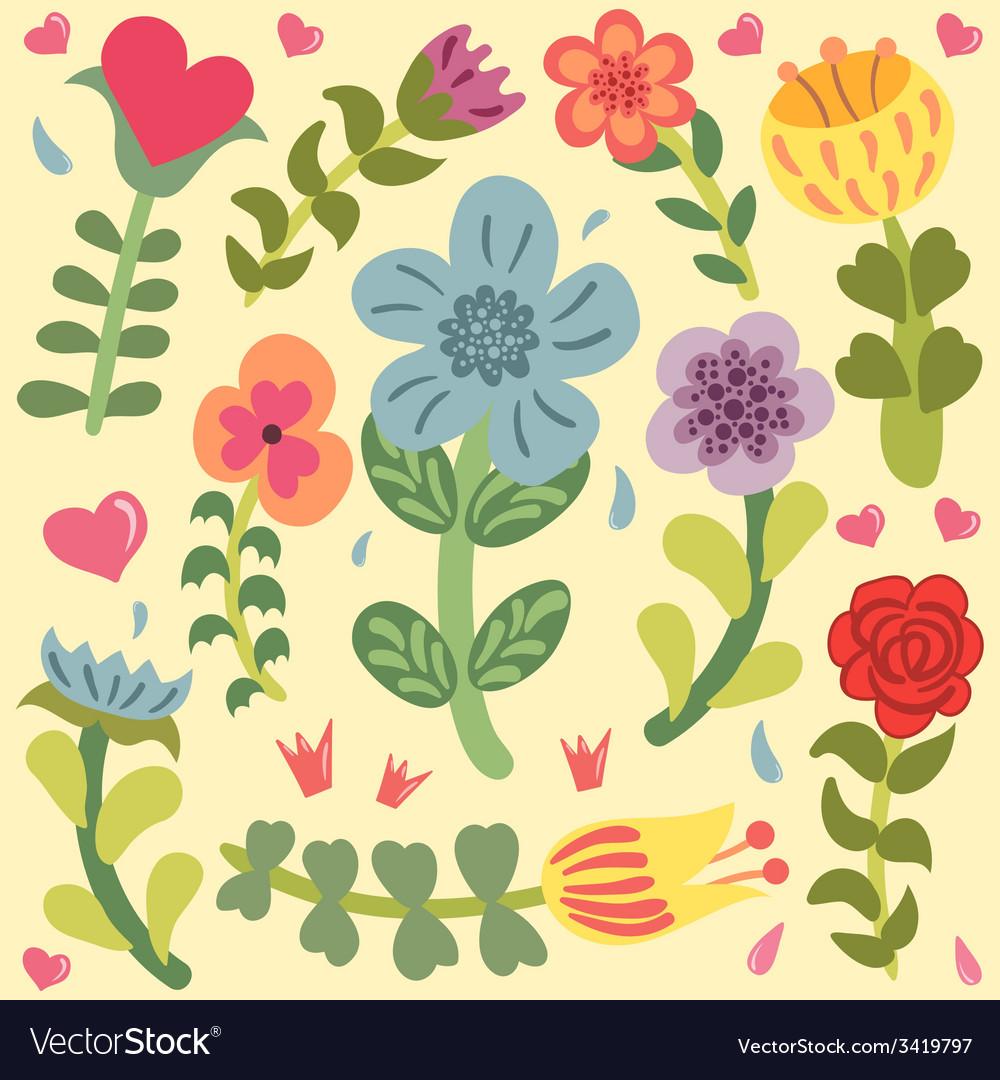 Cute doodle hand drawn flowers set