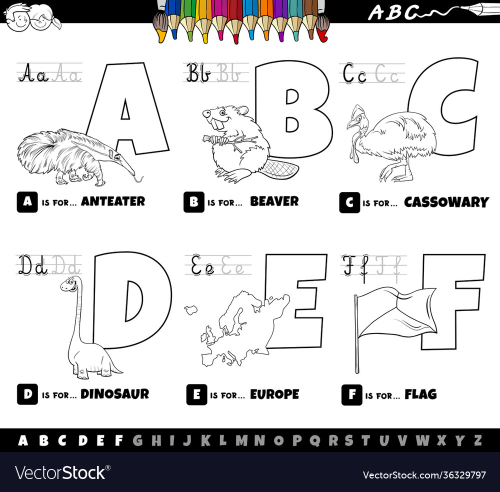 Educational cartoon alphabet letters set from a
