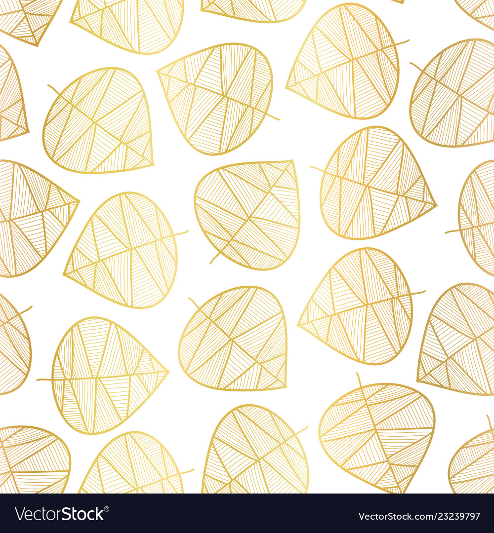 Elegant gold foil scattered stylized leaf pattern