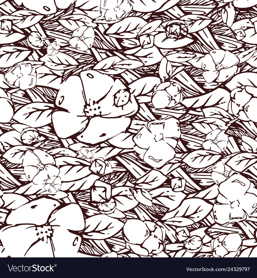 Hand drawn elegant pattern with flowers