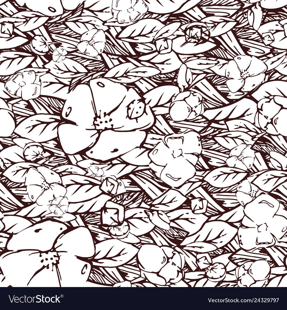 Hand drawn elegant pattern with flowers