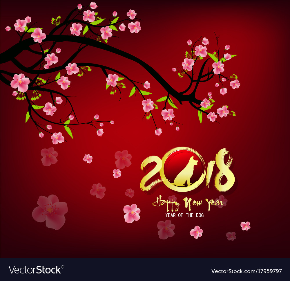 Happy new year 2018 greeting card chinese new vector image m4hsunfo