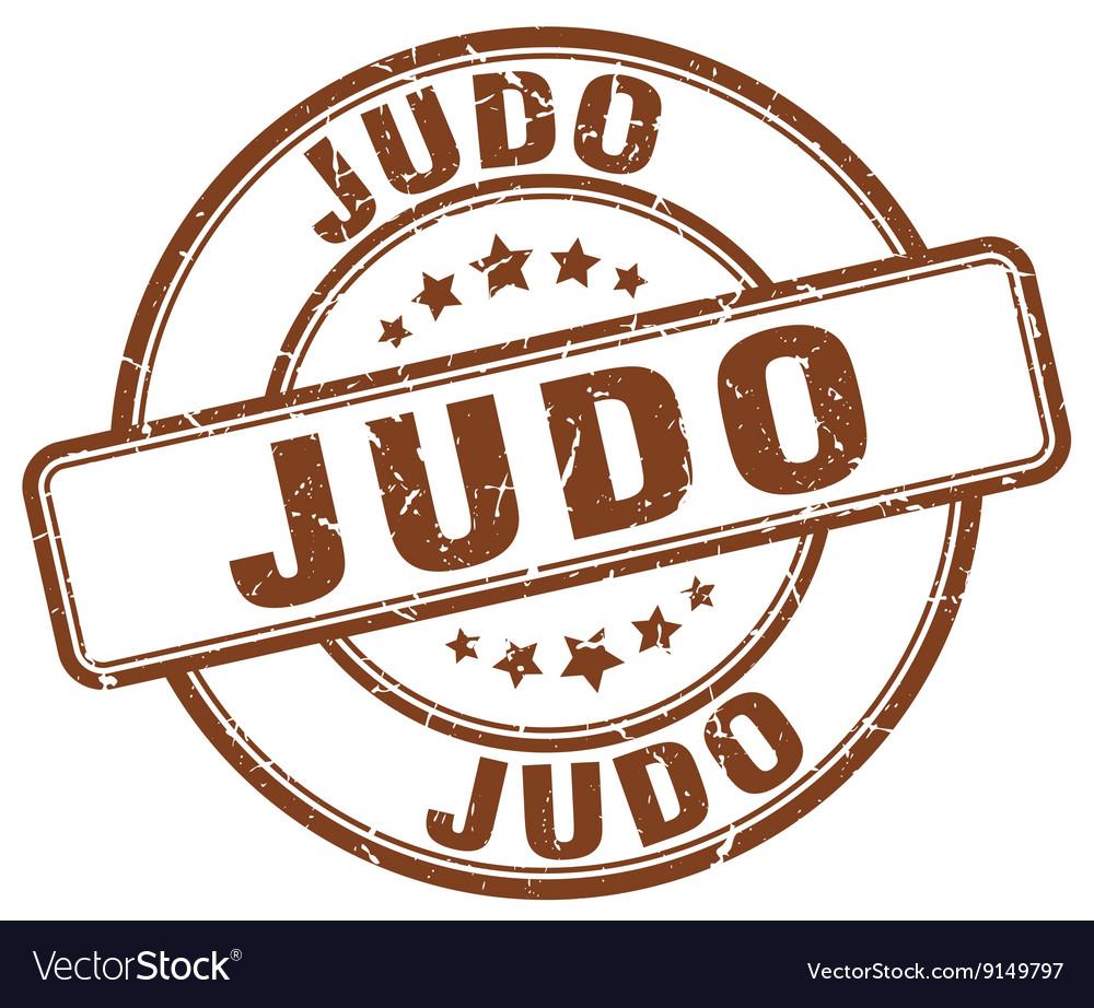Judo brown grunge round vintage rubber stamp