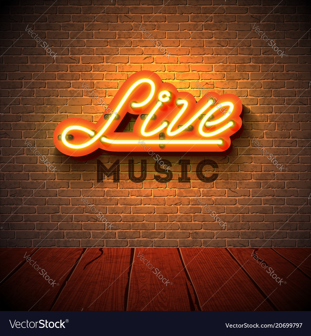 Live music neon sign with 3d signboard letter on