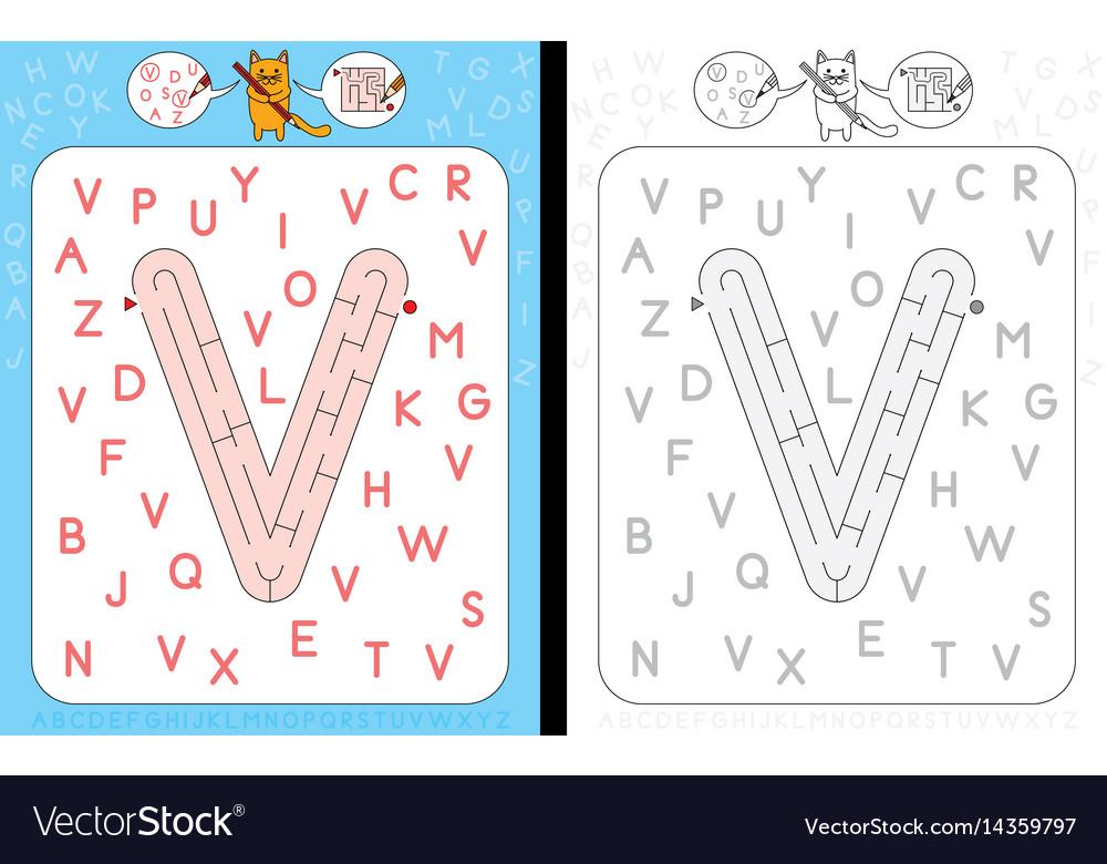 Maze letter v vector image