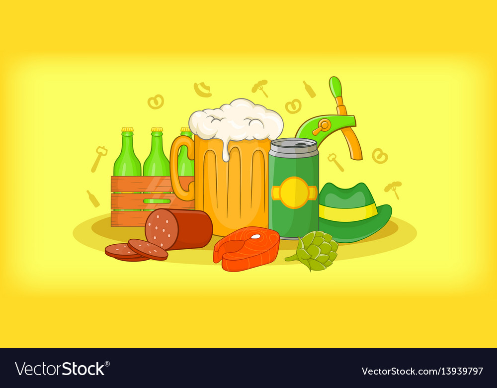 Oktoberfest horizontal banner cartoon style