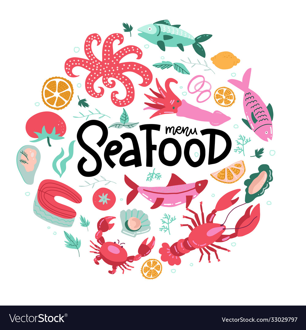 Round shape print with color fish and seafood