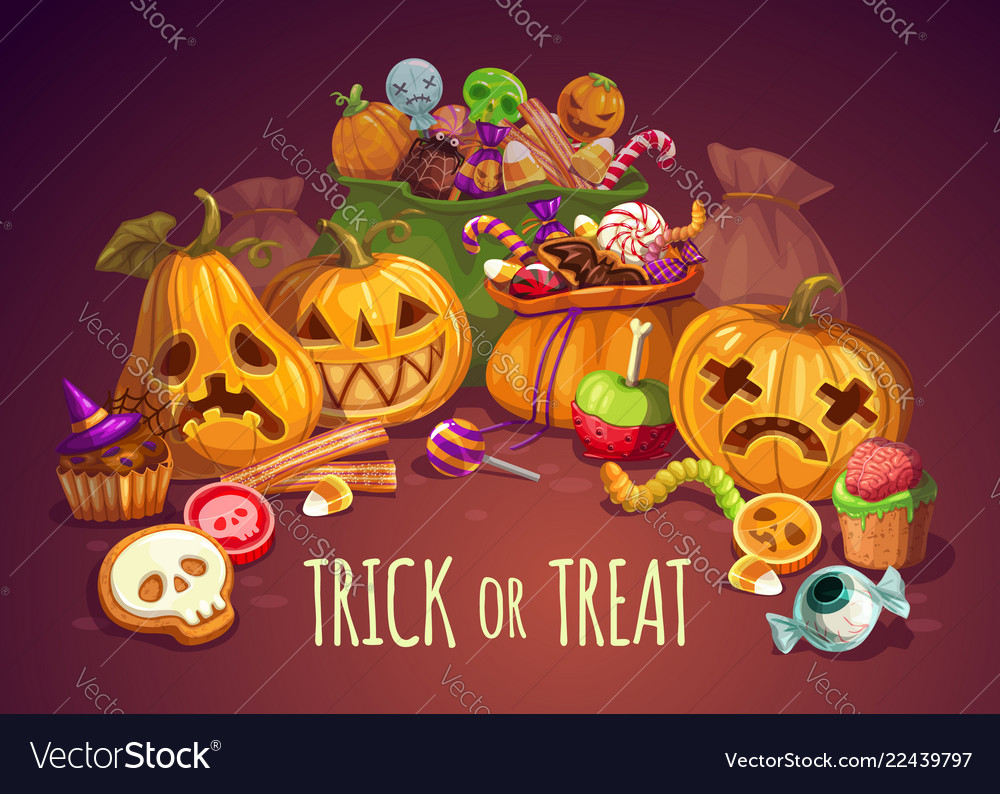 Trick or treat halloween holiday pumpkins