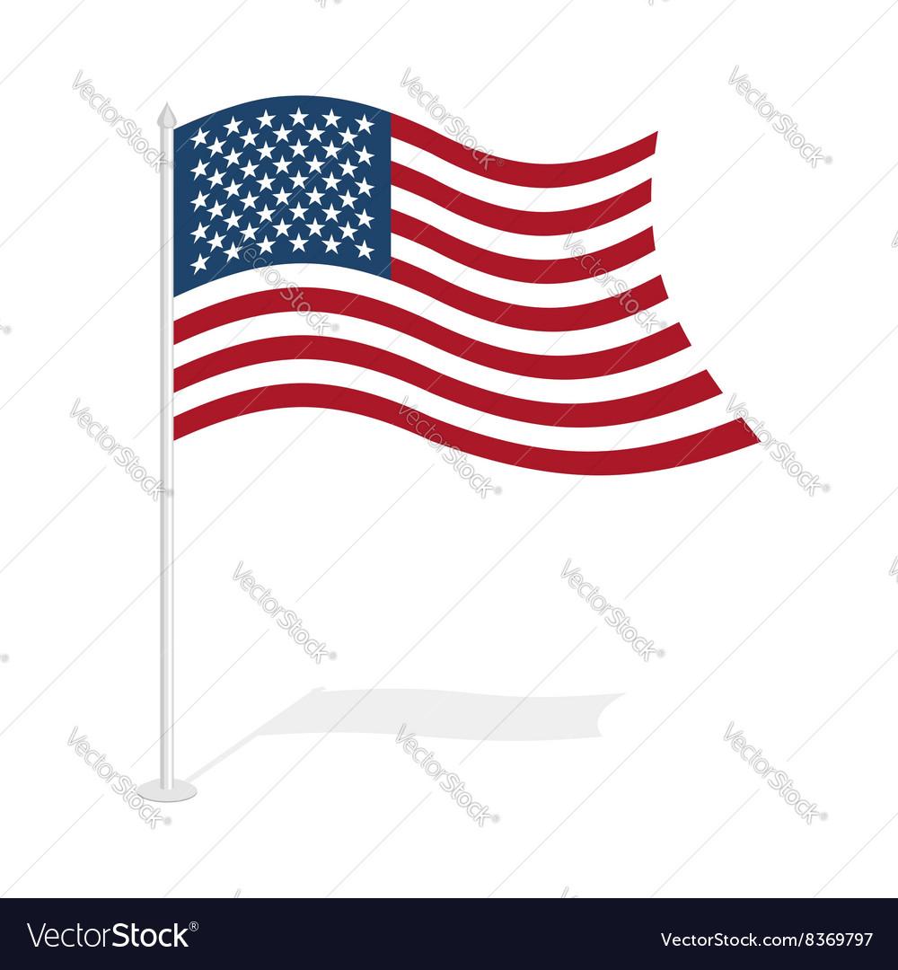 USA flag on white background Developing United