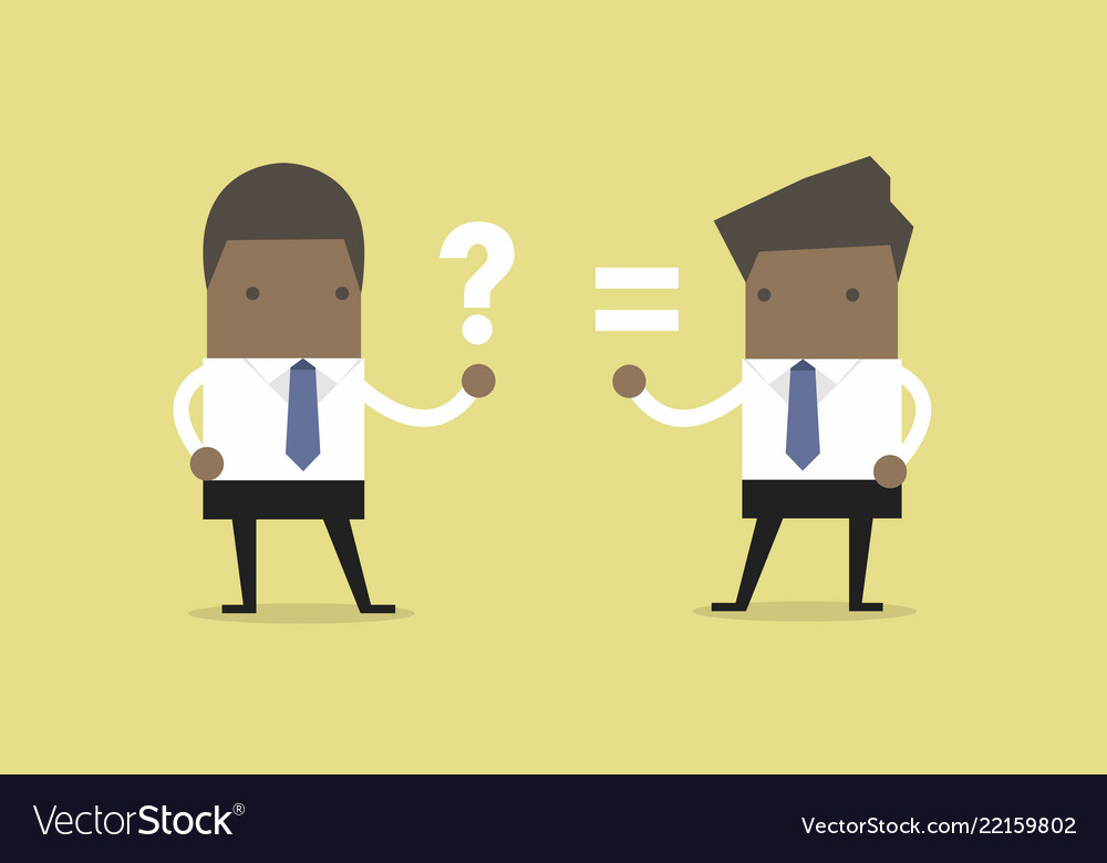 African businessman answer and question