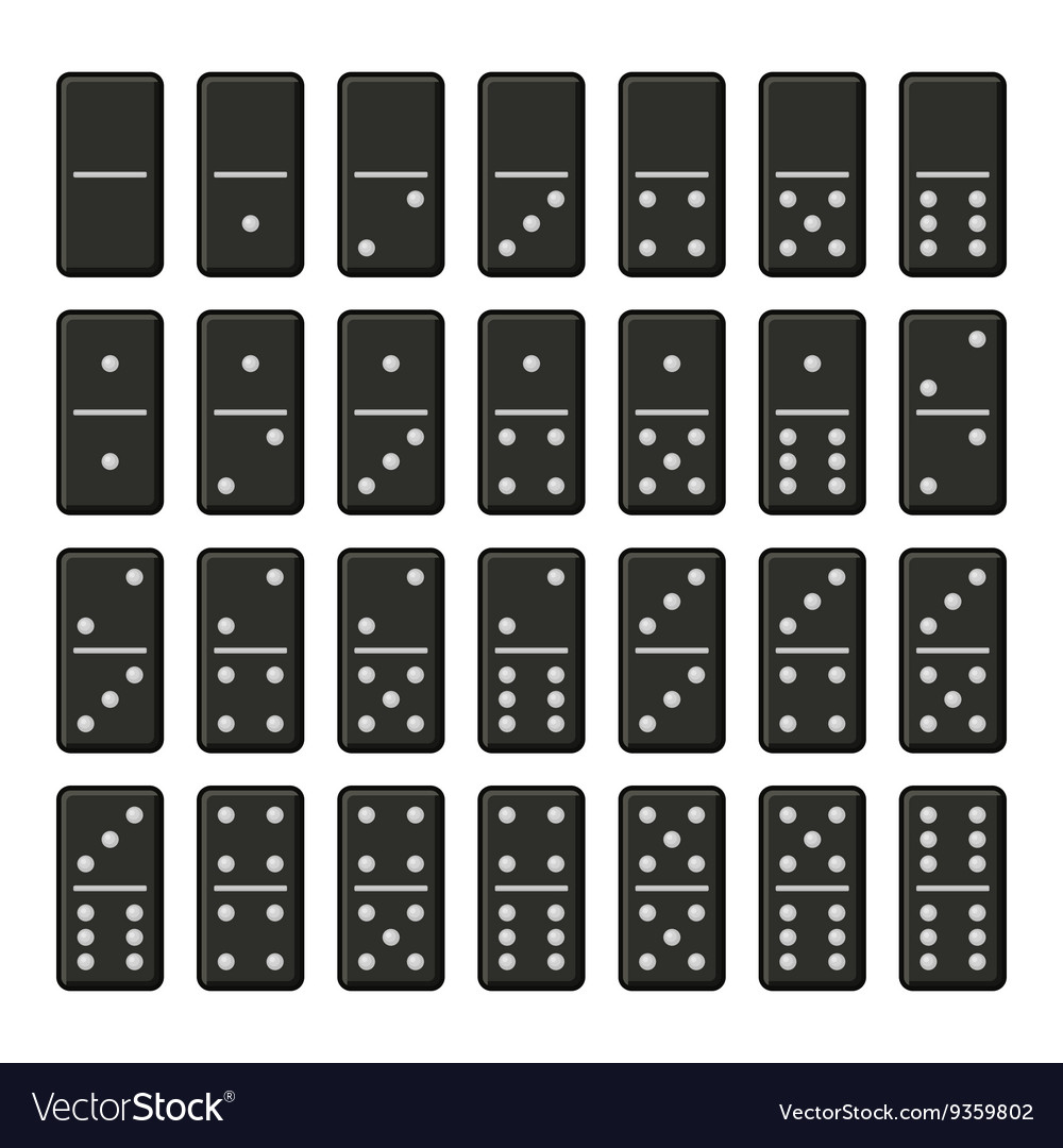 Black Domino Bones Complete Set on White vector image