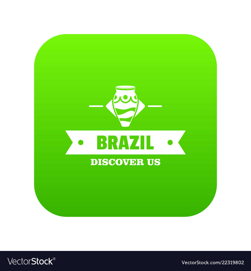 Brazil Discover Icon Green Royalty Free Vector Image